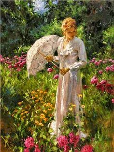 """Dreaming of sweet fields when I see this painting.  """"Wild Garden and Lace"""" by artist Richard Johnson."""