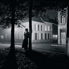 """""""Mons Park at Night"""" - Paris - 1938 - photographer Marcel Lefrancq."""
