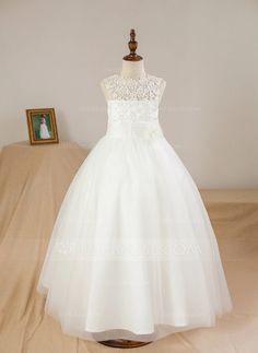 31ee0eab77 Ball Gown Ankle-length Flower Girl Dress - Satin Tulle Sleeveless Scoop Neck  With Appliques Flower(s) JJsHouse.