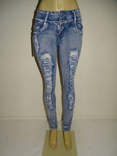 Diamante Push up Ripped Butt Lift Levanta Cola Colombian Skinny Light Blue Jeans #Diamante #SlimSkinny