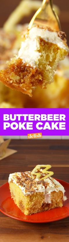 Make This Butterbeer Poke Cake For The Harry Potter Nerd In Your Life  - Delish.com
