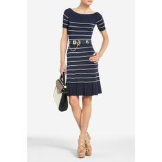 Agnese Striped Ruffle-Hem Dress found on Polyvore