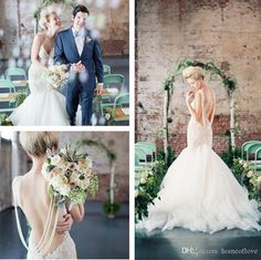 2015 Lace Wedding Dresses Mermaid Summer Spring Bridal Gowns Spaghetti Straps Backless Beading Tulle Sexy Wedding Gowns from Homeoflove,$149.53 | DHgate.com
