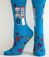 Turquoise Skeleton Bride and Groom socks