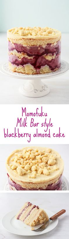 Momofuku Milk Bar style blackberry almond layer cake with milk crumbs