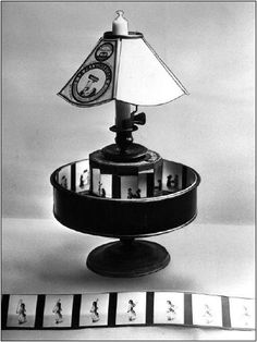Charles-Émile Reynaud's praxinoscope projector (invented in 1877) and projection image (1887)