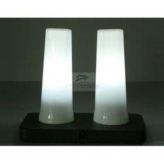 LED Rechargeable Mood Light Table Lamp (2PCS Set, Pillar Candle Shape, RGB Color Change)