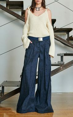 Pinstripe Linen Delia's Pant by Rosie Assoulin for Preorder on Moda Operandi