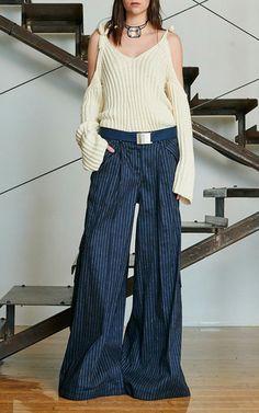 Pinstripe Linen Delia's Pant by Rosie Assoulin for Preorder on Moda Operandi