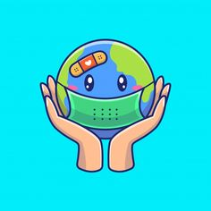 Save our earth 🌍🌍🌍 — let's fight the virus by always keeping a healthy life guys! ❤❤ — corona VS everybody ⚔🛡 — How about it? Cute Illustration, Character Illustration, Save Our Earth, Poster Drawing, Cool Art Drawings, Cartoon Characters, Art For Kids, Doodles, Vector Freepik