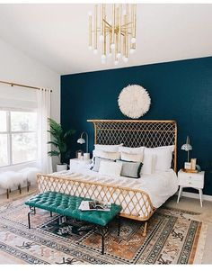 Amazing bedroom colors. And that bed!!