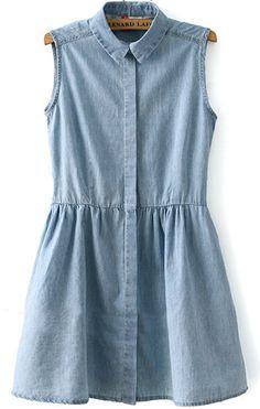 Shop Light Blue Lapel Sleeveless Pleated Denim Dress online. Sheinside offers Light Blue Lapel Sleeveless Pleated Denim Dress & more to fit your fashionable needs. Free Shipping Worldwide!