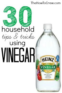 30 Household Tips and Tricks Using Vinegar from TheHowToCrew.com.  30 fabulous tips to using vinegar to make your life easier! #DIY #cleaning #beauty #tips