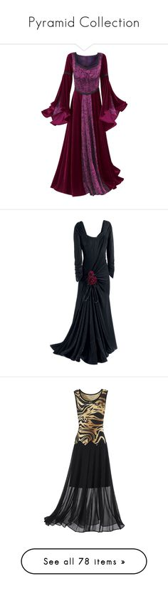 """""""Pyramid Collection"""" by thecomedian ❤ liked on Polyvore featuring dresses, medieval, costumes, medieval dresses, gowns, black, vestidos, long dresses, gothic dresses and velvet gown"""