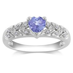 Miadora Sterling Silver Tanzanite and Diamond Ring ($92) ❤ liked on Polyvore featuring jewelry, rings, blue, heart shaped diamond ring, blue heart ring, pave diamond ring, diamond rings and sterling silver tanzanite ring