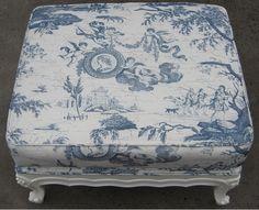 Blue toile ottoman