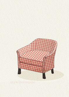 club chair (pink houndstooth) - 5x7 print. $10.00, via Etsy.