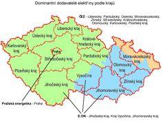 Dominantní dodavatelé elektřiny podle krajů z www.sfinance.cz