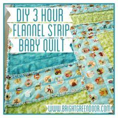 DIY 3 Hour Flannel Strip Baby Quilt