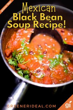 With fresh flavors, a spicy kick, and protein in every bite, this soup is perfect for all seasons. Serve the soup with nachos on the side, a dollop of sour cream in the middle or grated vegan cheese sprinkled over the small mounds made by legumes and fruits. #recipe #vegan #veganrecipe #mexican #mexicanfood #mexicanrecipe #soup #souprecipe #bean #Blackbean #vegansoup #worldrecipe