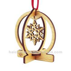 SNOW GLOBE Snow Flake Laser Cut Wood 3D Christmas Tree Ornament