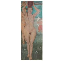 Lifesize original oil on board painting of a nude by Czene Bela 1945 | From a unique collection of antique and modern paintings at https://www.1stdibs.com/furniture/wall-decorations/paintings/