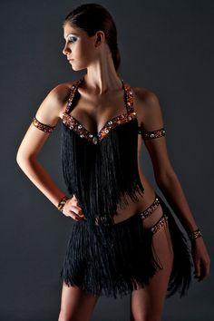 latin ballroom salsa fringe dress by LaexDanceWear on Etsy