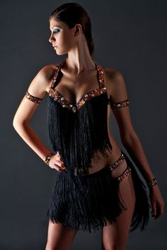 latin ballroom salsa fringe dress by LaexDanceWear on Etsy