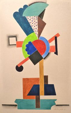 Composition cubiste, 1917. Auguste Herbin 1882-1960. French Cubist and later abstract painter whose work forms a bridge between the Cubist movement and post-war geometrical abstract art.