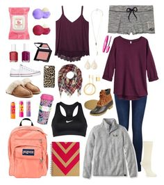 """random likes/wants"" by morgantaylor37 ❤ liked on Polyvore featuring Burt's Bees, Eos, Essie, e.l.f., Wet Seal, Converse, Miss Selfridge, UGG Australia, Kate Spade and JanSport"