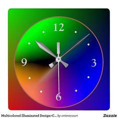 Multicolored Illuminated Design>Colorful Wall Cloc