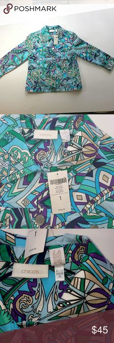 [Chico's]  Graphic Print Jacket Chico's Graphic Print Jacket  New with Tags  Women's Chico size 1 (M) Chico's Jackets & Coats Blazers