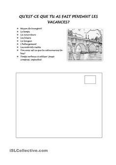 VACANCES - CARTE POSTALE fiche d'exercices - Fiches pédagogiques gratuites FLE