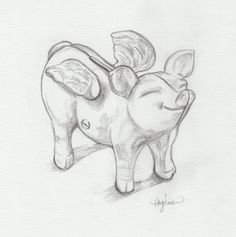pig with wings  pencil, 3″ x 3″, by angelina