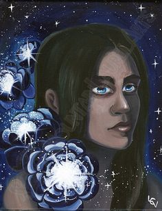Lotus space girl painting  Fine Art Original by mtnlaurelarts