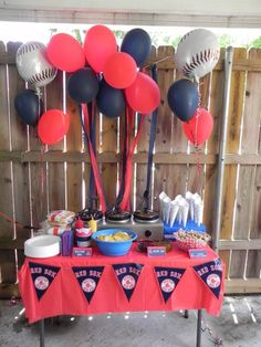 Boston Red Sox Party Ideas ~ Food Table