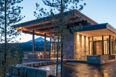 Mountain Modern Home-Reid Smith Architects-31-1 Kindesign The residence was constructed on a steep, wooded and narrow properthttp://onekindesign.com/2017/02/17/mountain-modern-home-montana/
