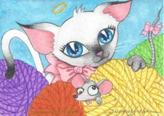 Original ACEO cat mouse yarn ball cute whimsical NFAC mix media by Jenny Luan   #Miniature