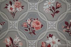 1940's Vintage Wallpaper pink roses on gray in by HannahsTreasures