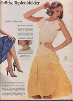 1977 Yellow Dress 70s Fashion, Fashion History, Vintage Fashion, Vintage Style, Burda Patterns, Rock, Vintage Outfits, Vintage Clothing, Yellow Dress