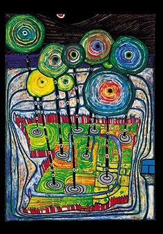 this by friedensreich hundertwasser (known primarily by his last name) ... someone pinned a piece of his work, and i love it!!!!!