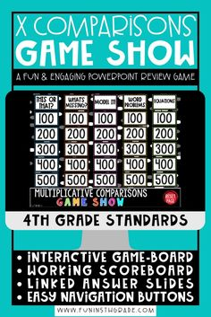 Practice multiplicative comparison strategies in a fun and engaging way that will help make the content stick for your students! This interactive review game with a working scoreboard will give students practice with multiplicative comparisons in the following categories: This or That?, What's Missing?, Model It!, Word Problems, and Equations. Each category offers multiplication comparison practice in a variety of ways.