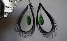 Eye of the PeacockBlack Feather Earrings by CasaPaloma on Etsy, $16.95