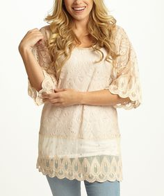 Another great find on #zulily! Beige Sheer Crochet Three-Quarter Sleeve Top by Pinkblush #zulilyfinds