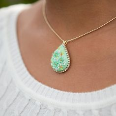 Minty Fresh - PETIT FOUR NECKLACE - clay cabochon & rhinestone pendant with ball chain - mint, gold, spring green