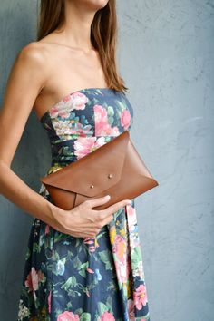 Brown leather clutch / Walnut brown envelope by SisterPlusSister