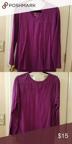 Plus Size V-neck  Long Sleeve T-Shirt I really liked this shirt & have worn it 2 maybe 3 times but I'm ssooooo hot all the time now I wear short sleeve t-shirts & tank tops all year round. That's saying a lot living in Central NY in January!! ? It's a purple almost magenta color and in very good condition. I'll consider all reasonable offers so don't be afraid to ask!! Smoke and pet free home. Happy Poshing!!!  ?? a.n.a Tops Tees - Long Sleeve
