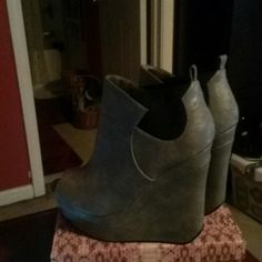 Michael Antonio grey leather boots size 9 Michael Antonio grey leather peep toe 5in boots size 9 ☆☆☆☆☆☆THESE WILL GET DONATED ON 2/28/17!!!!!! Michael Antonio Shoes