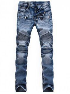 Zippered Rib Paneled Scratched Biker Jeans