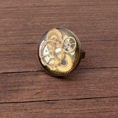 Steampunk Ring, Watch Ring, Antique brass ring, Watch Parts Ring, Adjustable Ring, Gears ring, Cogs ring, adjustable ring, Resin ring